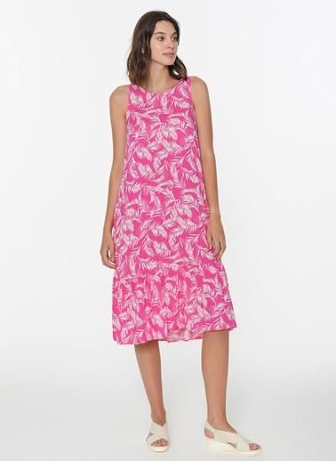 Loves You Yaprak Desenli Kolsuz Elbise Pembe